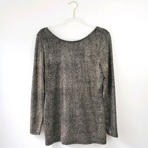 Cache Shimmer Scoop Back Long Sleeve Tunic Top